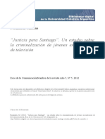 """""""Justicia para Santiago"""". Un estudio sobre la criminalización de jóvenes en noticieros de televisión"""