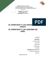 Derecho Penal Homicidio y Lesiones Por Duelo o Riña GRUPO 6