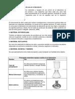 Materiales de uso del laboratorio