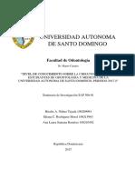 """""""NIVEL DE CONOCIMIENTO SOBRE LA CHIKUNGUNYA  DE LOS ESTUDIANTES DE ODONTOLOGÍA Y MEDICINA DE LA UNIVERSIDAD AUTONOMA DE SANTO DOMINGO, PERIODO 2017-1"""""""