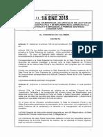 ACTO LEGISLATIVO N° 01 DE 18 DE ENERO DE 2018