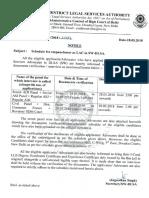 Schedule for Empanelment as LAC in SW-DLSA