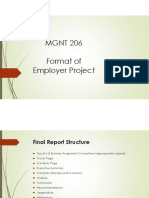 Format of Employer Project