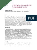 VALORACIÓN DE LOS PACIENTES CON DOLOR CERVICAL
