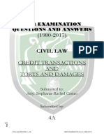 4a - Bar q and a - Credit Transactions and Torts and Damages