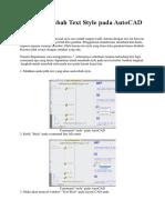 Teknik Merubah Text Style Pada AutoCAD