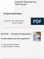 EAT 340 UNIT 1 LESSON 6 - Project Estimating Lecture Powerpoint.ppt