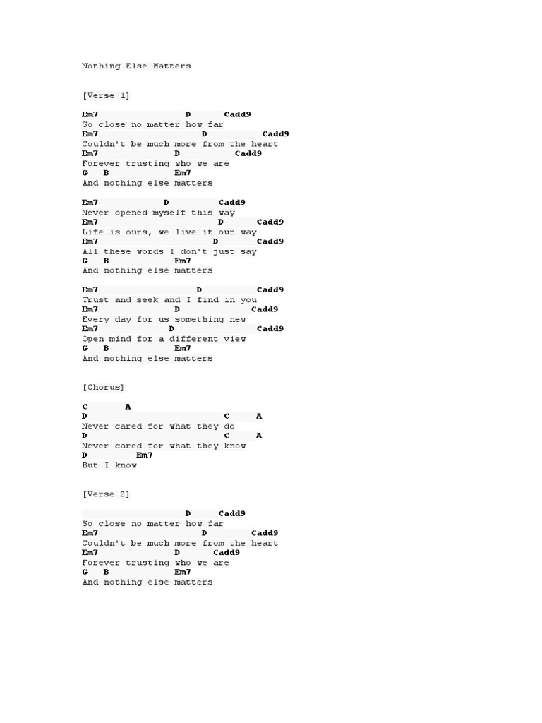 Nothing Else Matters   Song Structure   Songs