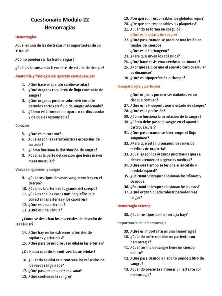 Cuestionario Modulo 22 Hemorragias