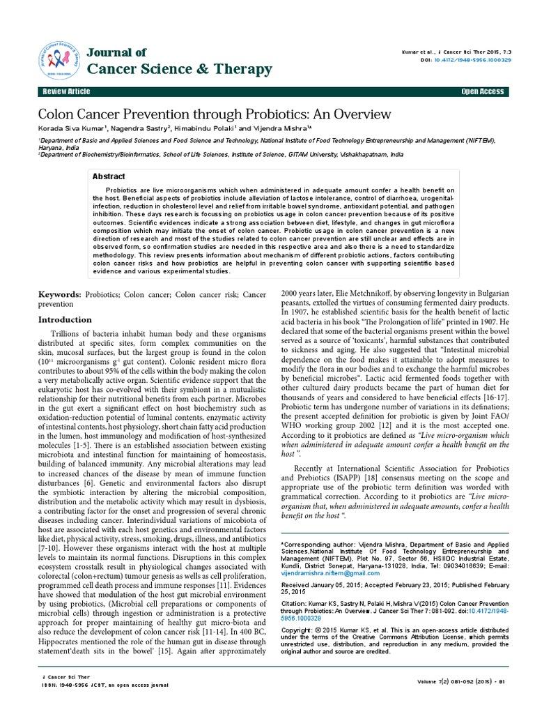 Colon Cancer Prevention Through Probiotics An Overview 1948 5956 1000329 Probiotic Gut Flora