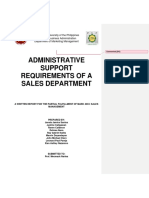 Administrative Support Requirements of a Sales Department (Written Report)