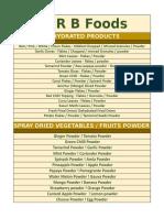 r b Foods Product List