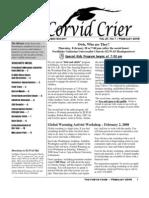 Feb 2008 Corvid Crier Newsletter Eastside Audubon Society