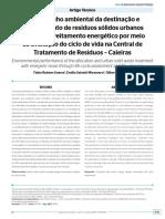 Artigo sobre Destinacao e tratamento de RSU