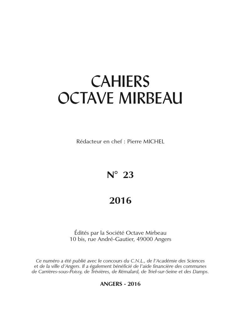4ee1bddc4350 Cahiers Octave Mirbeau, n° 23