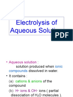 Chapter 6b Electrolysis of Aqueous Solution