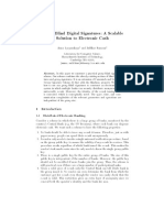 Group Blind Digital Signatures a Scalable Solution to Electronic Cash by Anna Lysyanskaya and Zulfikar Ramzam