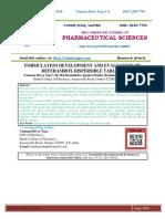 FORMULATION DEVELOPMENT AND EVALUATION OF DEFERASIROX DISPERSIBLE TABLETS