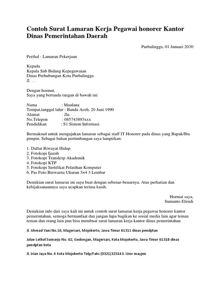 Contoh Surat Lamaran Kerja Pegawai Honorer Kantor Dinas Pemerintahan Daerah