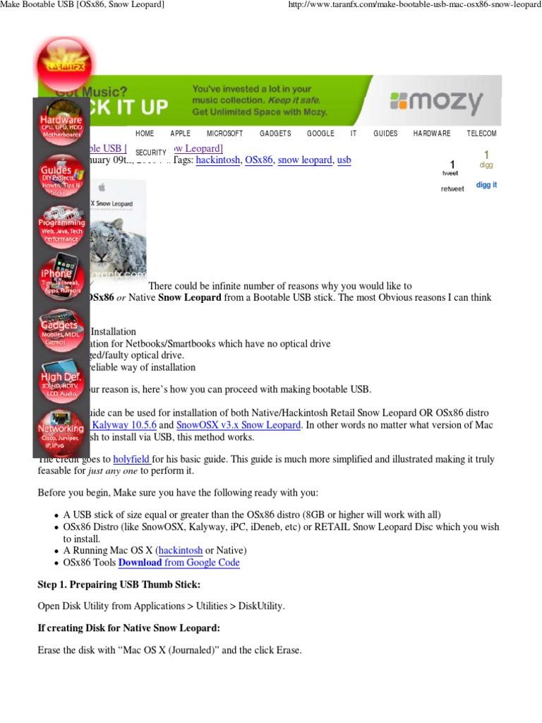 Make Bootable USB [OSx86, S     Mac Os X Snow Leopard   Mac