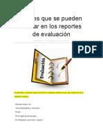 Frases Que Se Pueden Utilizar en Los Reportes de Evaluación