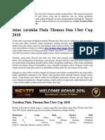 Situs Taruhan Piala Thomas Dan Uber Cup 2018