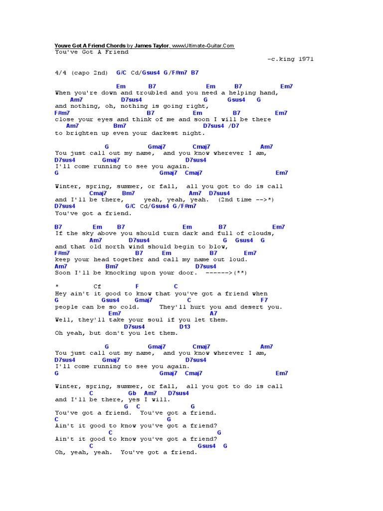 Youve Got A Friend Chords by James Taylor   PDF   Guitar Family ...