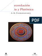 Coomaraswamy Recordacion India y Platonica