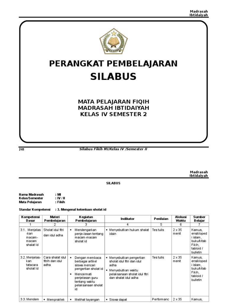 Silabus Fiqih Kelas 4 Smt 2 Doc