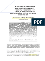 Are Attachment Styles General Interpersonal Orientations Applicants' Perceptions and Emotions in Interaction With
