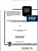 2002 - Strategic Leadership and Organizational Change. Challenges in Army Transformation
