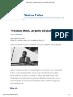 Thelonius Monk, un genio del piano-jazz _ El Jazz Música Músicos Estilos