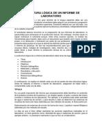 Estructura Lógica de Un Informe de Laboratorio