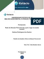 FICHAMENTO - Rede de Atenção Psicossocial