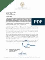 State Rep. Villalba Letter to Gov. Abbott