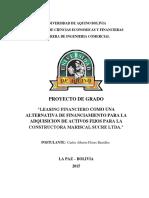 Leasing Financiero Como Alternativa de Financiamiento Para La Adquisicion de Activos Fijos Para La Constructora Mariscal Sucre Ltda