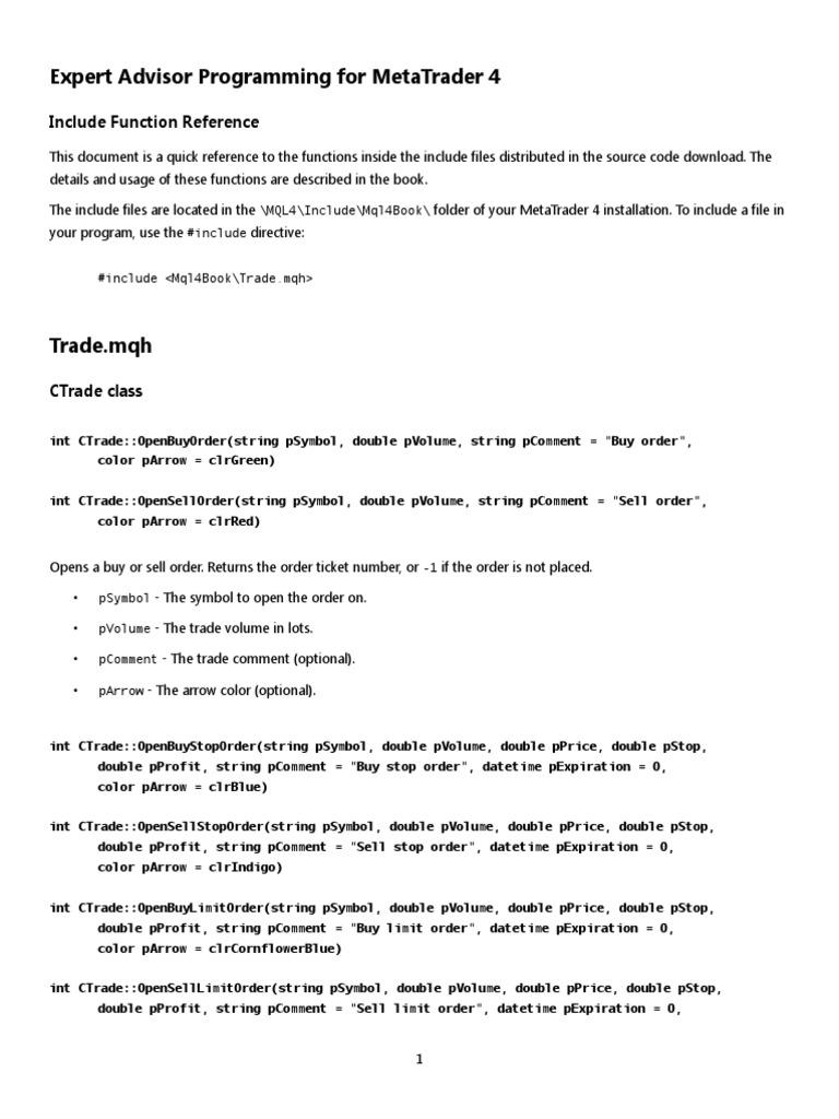 MQL4 Function Reference | Order (Exchange) | Integer