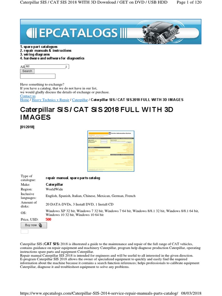 Caterpillar SIS / CAT SIS 2018 FULL WITH 3D Images: Contact us Home