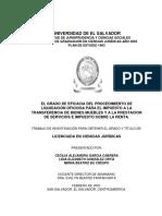 El Grado de Eficacia Del Procedimiento de Liquidacion Oficiosa Para El Impuesto a La Transferencia de Bienes Muebles y a La Prestación de Servcios e Impuestos Sobre La Renta