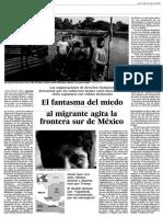 MÉXICO. EL FANTASMA DEL MIEDO AL MIGRANTE AGITA LA FRONTERA SUR DE MÉXICO