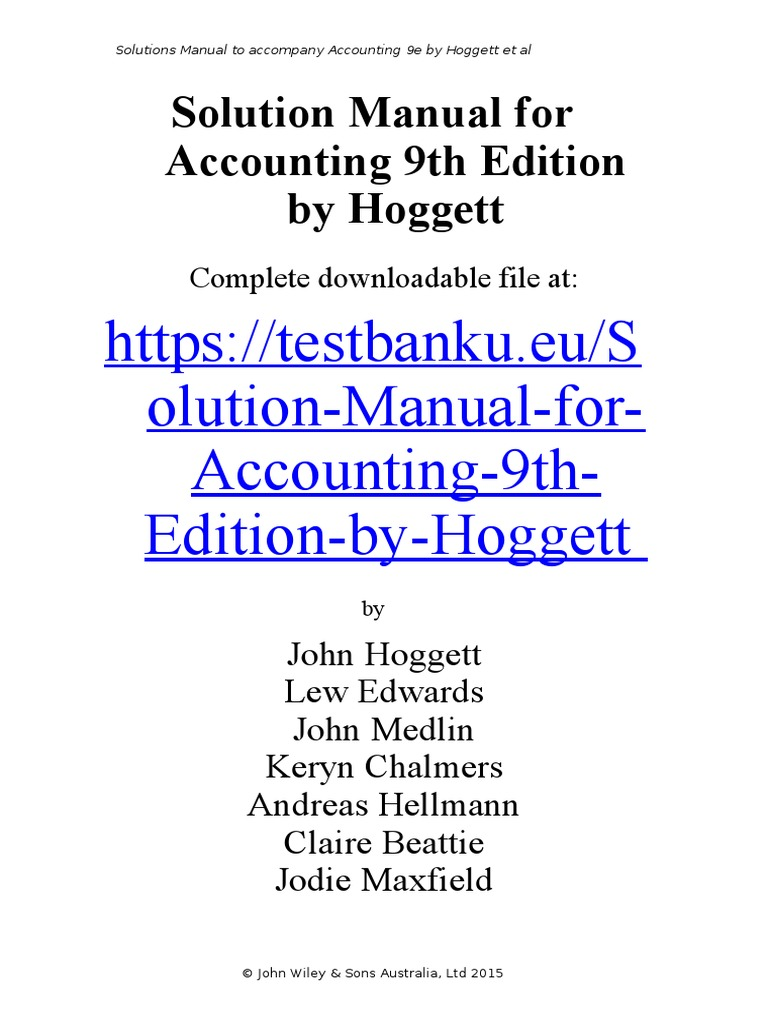 Solution Manual for Accounting 9th Edition by Hoggett | Accounting | Audit