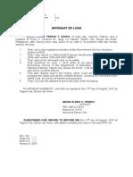 Affidavit Loss Ferido-GSIS