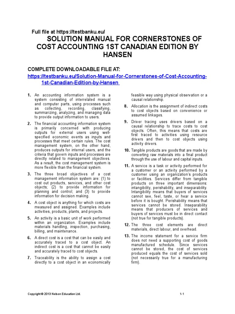 Solution-Manual-for-Cornerstones-of-Cost-Accounting-1st-Canadian-Edition-by-Hansen.doc  | Cost Of Goods Sold | Inventory