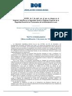 RD 480:1993 Régimen General de la Seguridad Social el Régimen Especial de la Seguridad Social de los Funcionarios de la Administración Local.