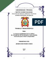 Monografia Imprescriptibilidad de Delitos de Corrupcion