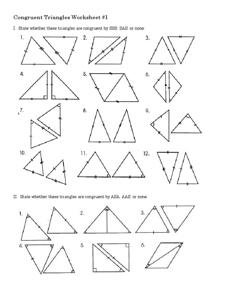 Worksheet Congruent Triangles 1