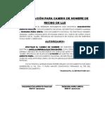 Autorización Recibo de Luz Cambio de Nombre Suministro