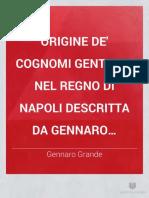 Origine de Cognomi Gentilizj Nel Regno Di Napoli