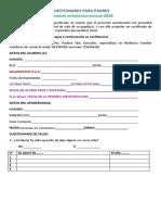Cuestionario Medico Familiar (Planilla Padres) 2017