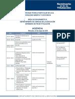 Agenda Seminario de Fin de Titulación 2018
